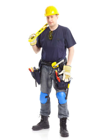 Young handsome contractor  . Isolated over white background