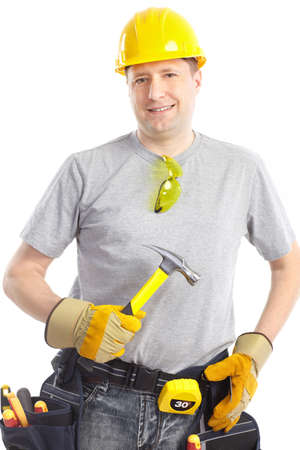 Young handsome contractor  . Isolated over white background  photo