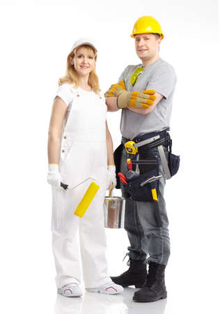 paints: Smiling contractors people. Isolated over white background