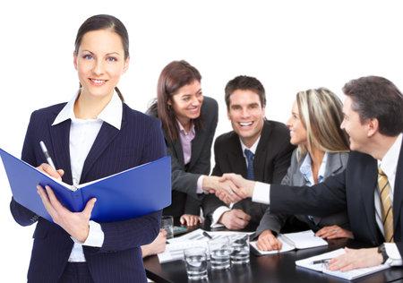 discutere: Business team di persone lavorano in ufficio