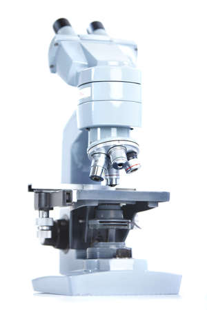 Labor-Mikroskop. Over white background Standard-Bild - 8856737