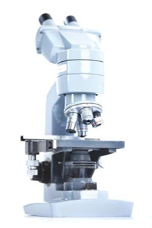 Laboratory microscope. Over white background