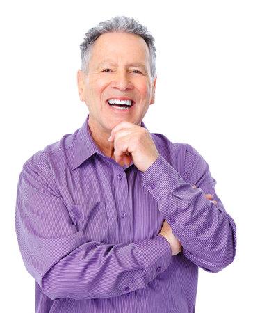 ancianos felices: Sonriente anciano feliz. Aislados sobre fondo blanco  Foto de archivo