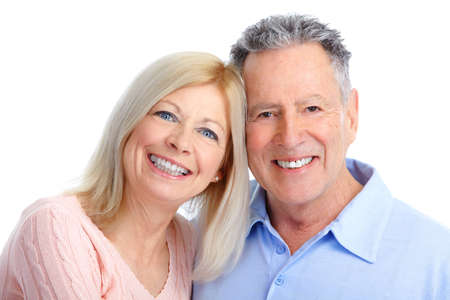 Senior couple in love. Isolated over white background  Stock Photo