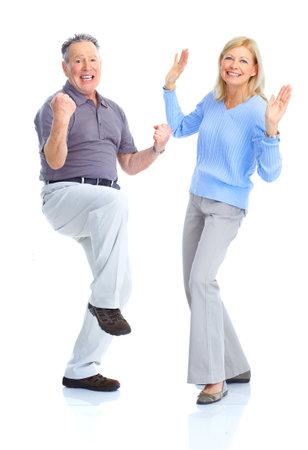 Senior couple in love. Isolated over white background  Stock fotó