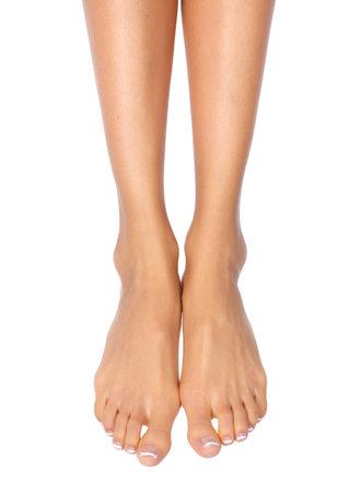 girl feet: Female feet. Isolated over white background
