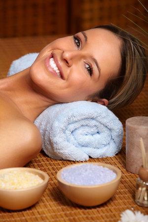 Beautiful young woman at a spa salon  Stock Photo