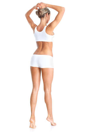 knickers: Female body. Isolated over white background