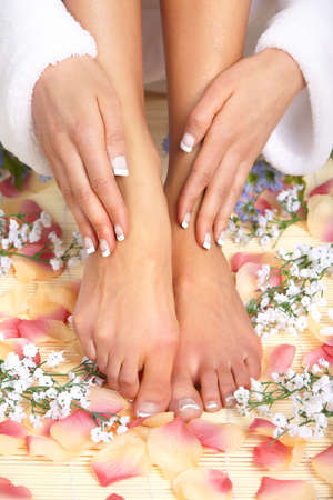 Female feet massage and flowers  Stock Photo