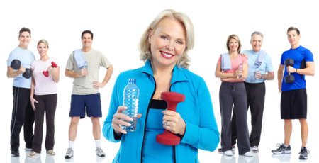 exercitation: Gym, Fitness, healthy lifestyle. Smiling people. Over white background