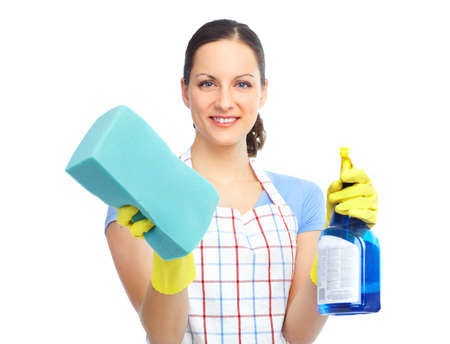 Young smiling housewife cleaner. Over white background Zdjęcie Seryjne - 8863682