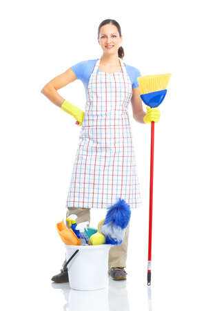 Young smiling housewife cleaner. Over white background Zdjęcie Seryjne - 8863671