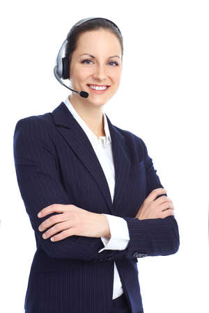 Beautiful  call center operator with headset. Isolated over white background Stock Photo - 8863737