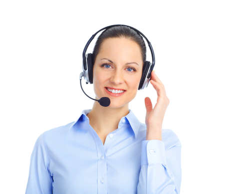 Beautiful  call center operator with headset. Isolated over white background Stock Photo - 8863696