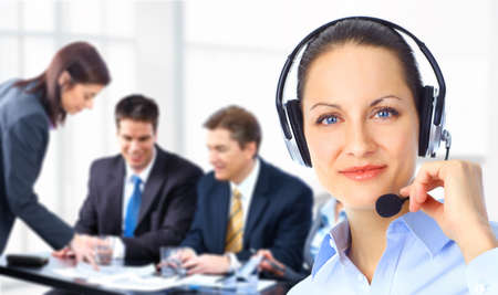 receptionist: Call center operator with headset and business team  Stock Photo