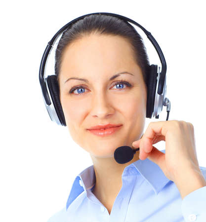 Beautiful  call center operator with headset. Isolated over white background Stock Photo - 8863657