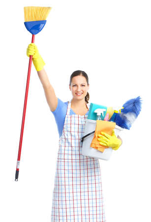 working woman: Young smiling housewife cleaner. Over white background