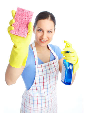 charlady: Young smiling housewife cleaner. Over white background