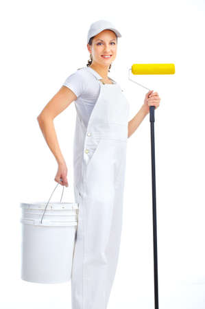 paintings: Smiling painter woman in white suit. Isolated over white background
