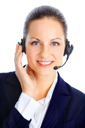 Beautiful  call center operator with headset. Isolated over white background   photo