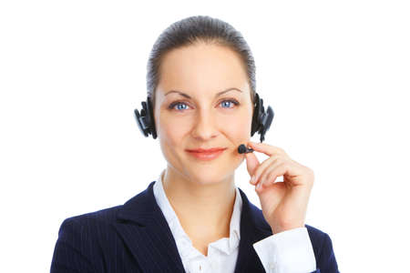 Beautiful  call center operator with headset. Isolated over white background Stock Photo - 8863701