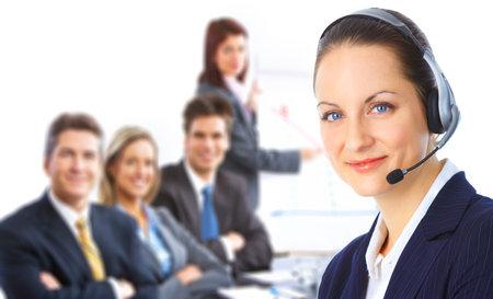 Call center operator with headset and business team  Zdjęcie Seryjne