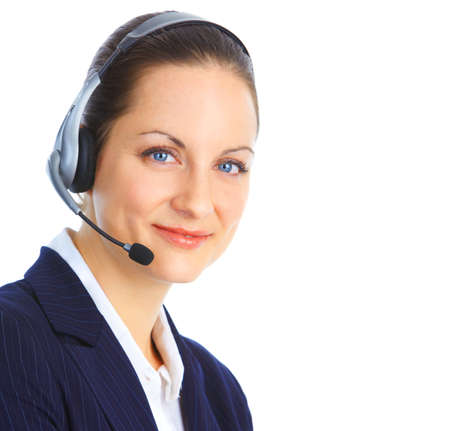 contact: Beautiful  call center operator with headset. Isolated over white background   Stock Photo