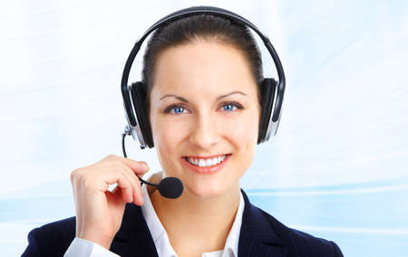 Beautiful  call center operator with headset. Over blue background