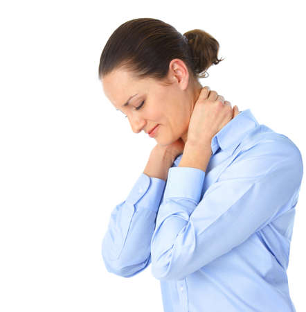 Sick young woman. Neck pain
