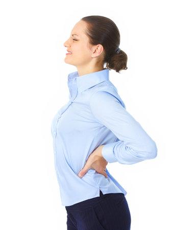 back of woman: Mujer joven enferma. Dolor de espalda.