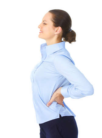 woman back pain: Sick young woman. Back pain.