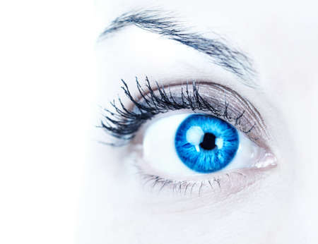 Blue woman eye. Over white background