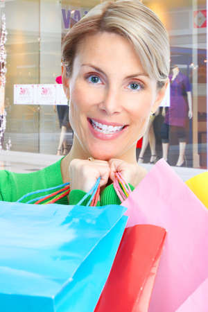 Shopping happy  mature  woman at the mall photo