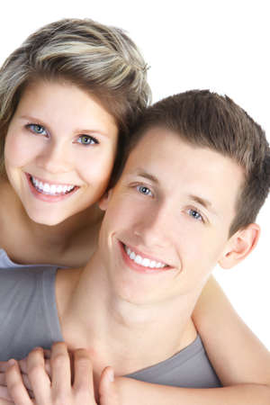 Happy smiling couple in love. Over white background Stock Photo - 8863790