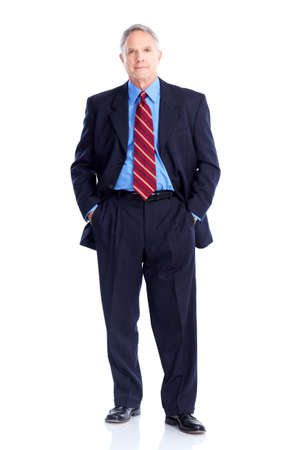 gray suit: Handsome mature  businessman. Isolated over white background  Stock Photo