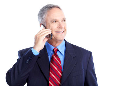 man with phone: Smiling handsome businessman talking by cellular