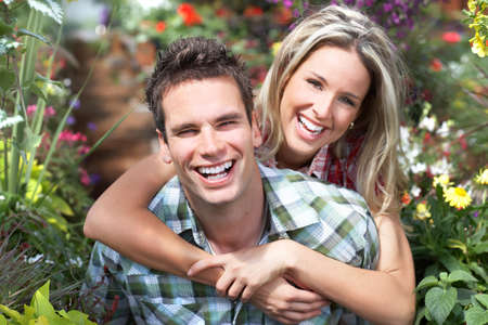 Young  happy smiling couple in love Stock Photo - 8863775