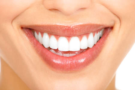 Healthy woman teeth and smile. Close up.  photo