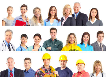 Large group of smiling workers people. Over white background photo