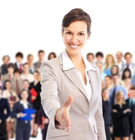 recursos humanos: Recursos humanos. Empresaria y un numeroso grupo de personas de negocios.   Foto de archivo