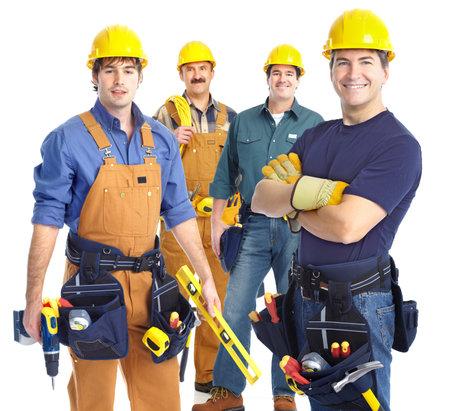 trabajadores: Personas de los trabajadores de contratistas industriales. Aislados sobre fondo blanco  Foto de archivo