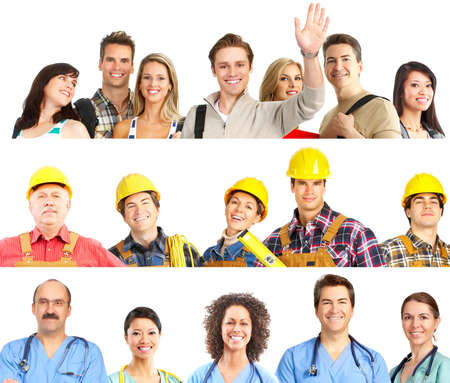 Large group of smiling workers people. Over white background Stock Photo - 8863903