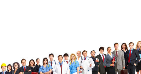 Large group of smiling workers people. Over white background Stock Photo - 8863908
