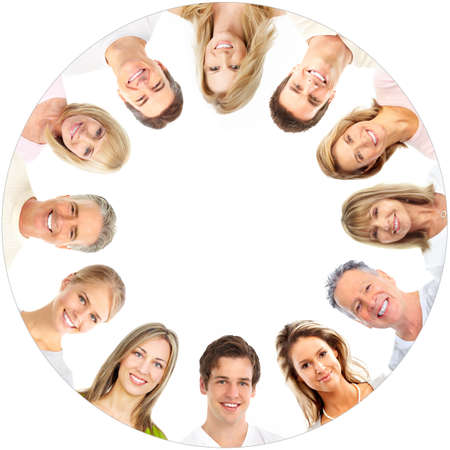Faces of smiling people. Over white background