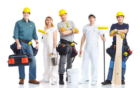 işçi: Industrial contractors workers people. Isolated over white background  Stok Fotoğraf