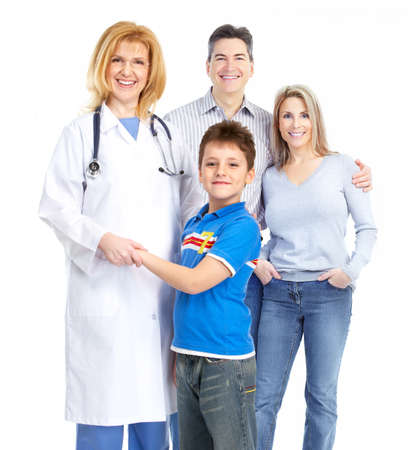 family doctor and young family. Over white background  Stok Fotoğraf