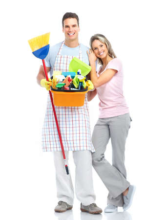 housewife cleaners. Isolated over white background  Stock Photo