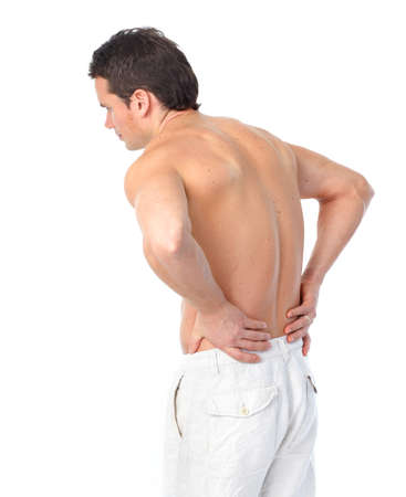 back ache: Sick young man. Back pain. Over white background