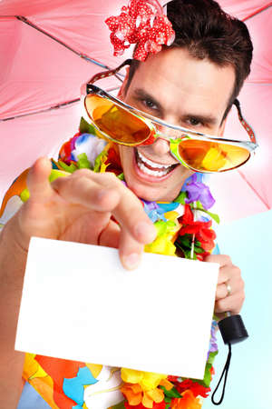 plackard: Happy smiling young cute man with a pink umbrella  Stock Photo