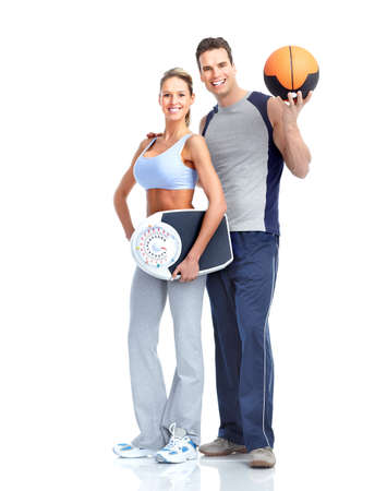 Healthy fitness people with a weight scale. Isolated over white background  Stock Photo